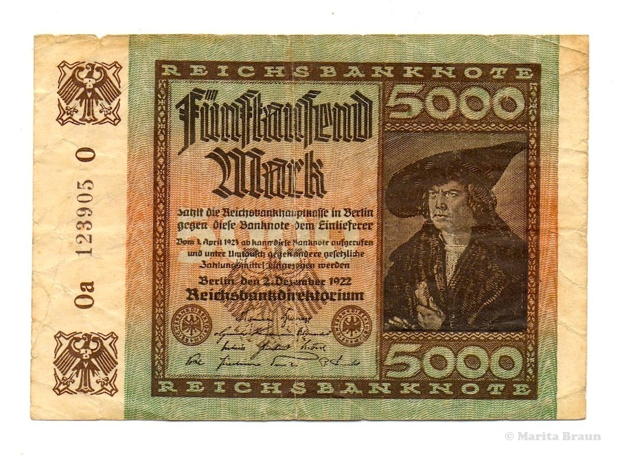 german inflation money 5000 Marks front