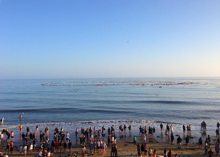 Isla Vista Memorial paddle out - Pacific Ocean