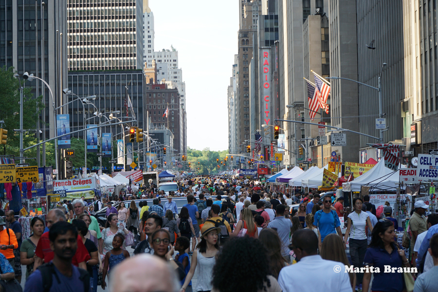 Sunday Street Fair on Avenue of the Americas NYC